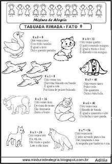 Tabuada rimada e ilustrada fato 8