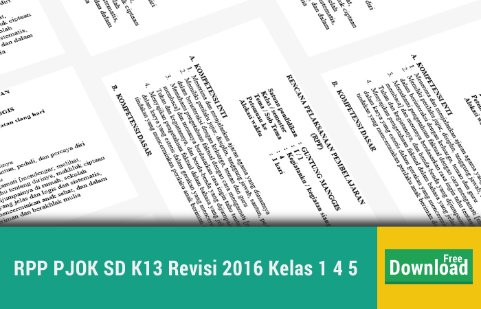 Rpp Pjok Sd K13 Revisi 2016 Kelas 1 4 5 Kurikulum 2013 Revisi Blog
