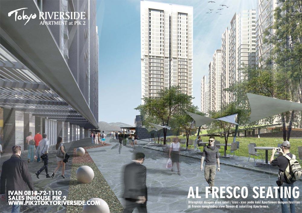 tampak muka apartemen pik 2 blok tokyo riverside