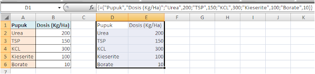 Contoh Rumus Array