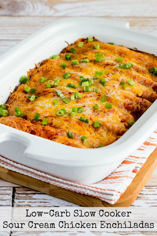 Low-Carb Slow Cooker Sour Cream Chicken Enchiladas from Kalyn's Kitchen featured on SlowCookerFromScratch.com