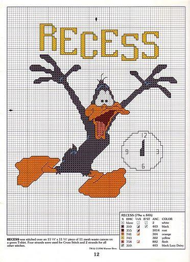 patrones del pato Lucas punto de cruz