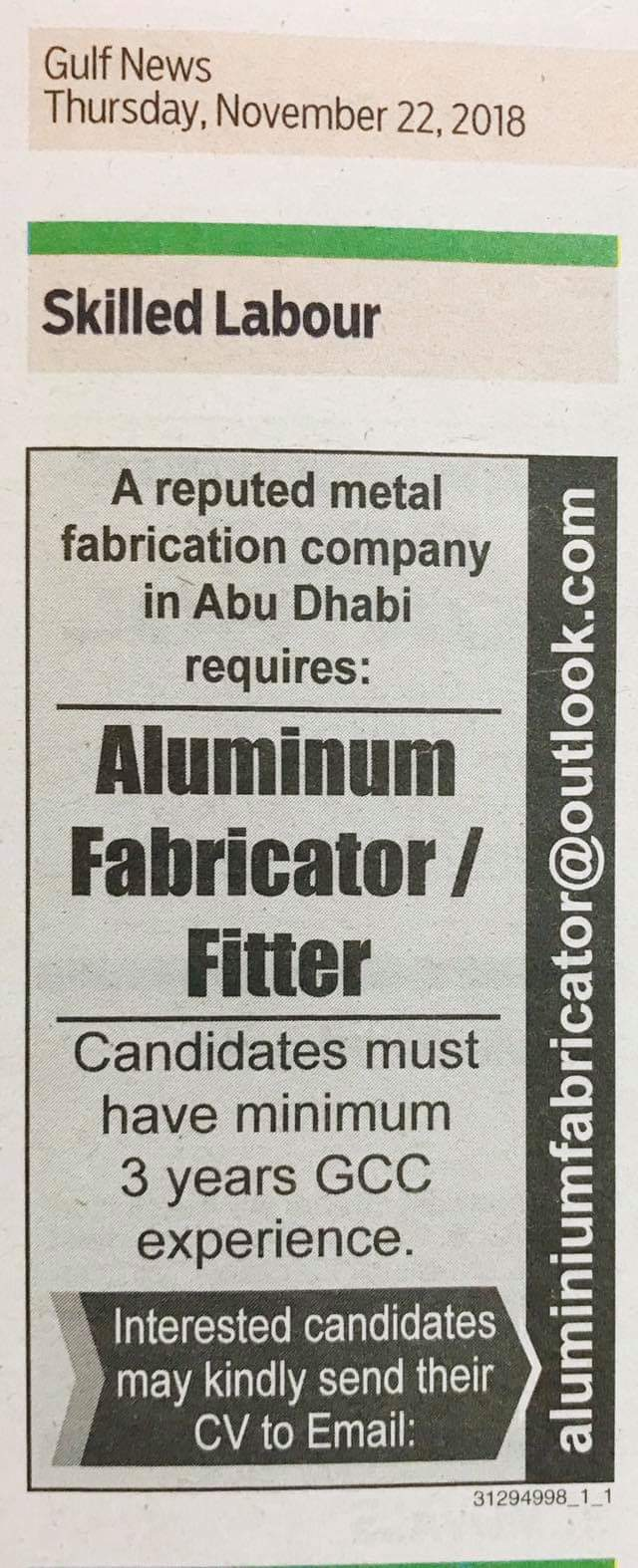 Required Aluminum fabricator & fitter for UAE JOBS Local Hiring