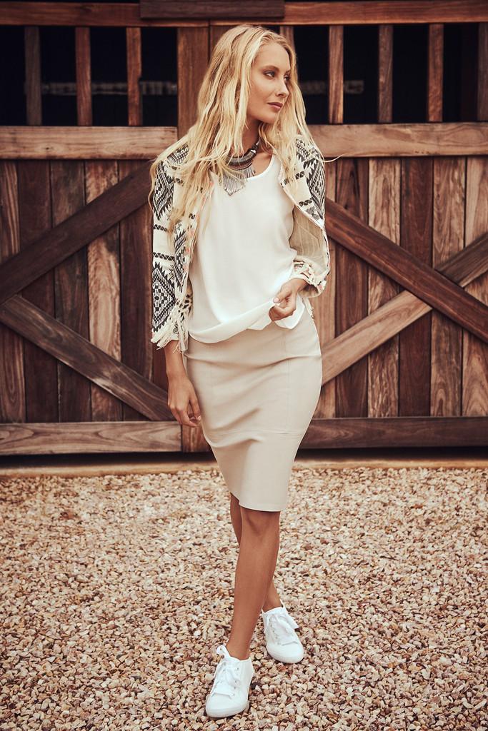 Bella Leather Pencil Skirt
