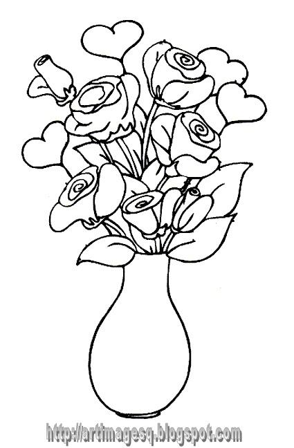 Lukisan Bunga Ros Dalam Pasu Cikimm Com