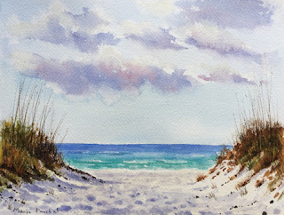 A water colour painting of white sandy beach of Florida, By Manju Panchal
