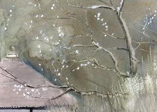 梅の枝をスクラッチ