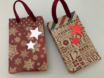 Mini Christmas gift bags made using Bostik glue products