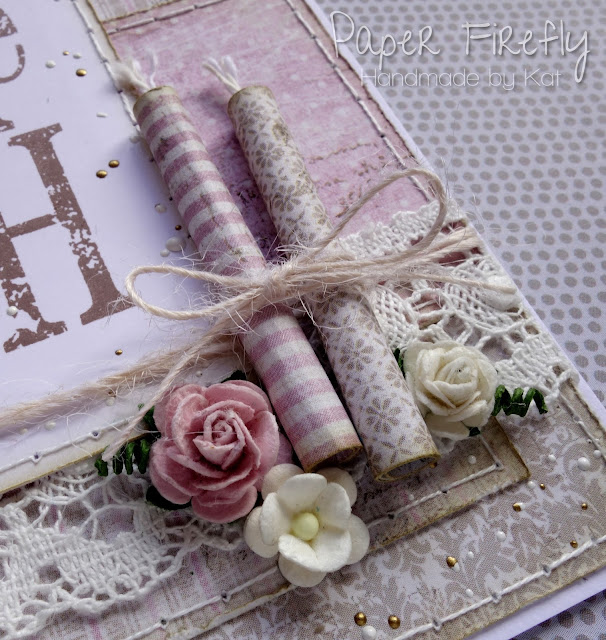 Shabby chic make a wish card with candles