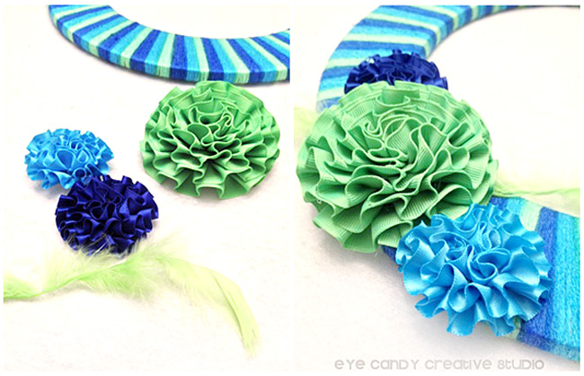 flower embellishments for a wreath, tarn wreath, stripes, wreath for front door