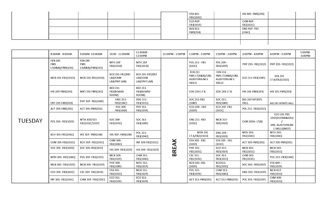 FUOTUOKE 2017/2018 First Semester Lecture Timetable