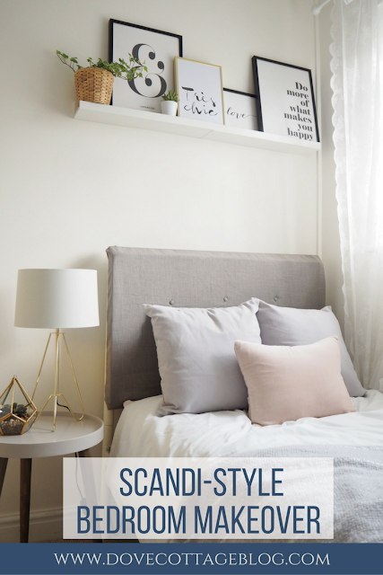Scandinavian themed bedroom makeover featuring Scandi colour palette, diy headboard and budget interior ideas