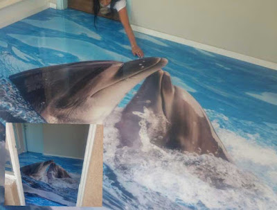 3d dolphin flooring mural, 3d epoxy floor art for each room