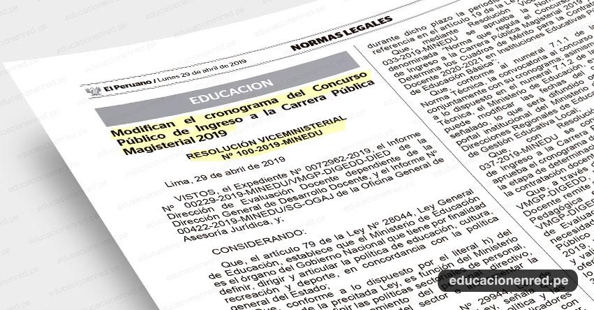 MINEDU publicó nuevo cronograma para Nombramiento Docente 2019 (R. VM. Nº 100-2019-MINEDU) www.minedu.gob.pe