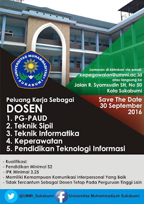 Lowongan Dosen Universitas Muhammadiyah Sukabumi (UMMI) – September 2016