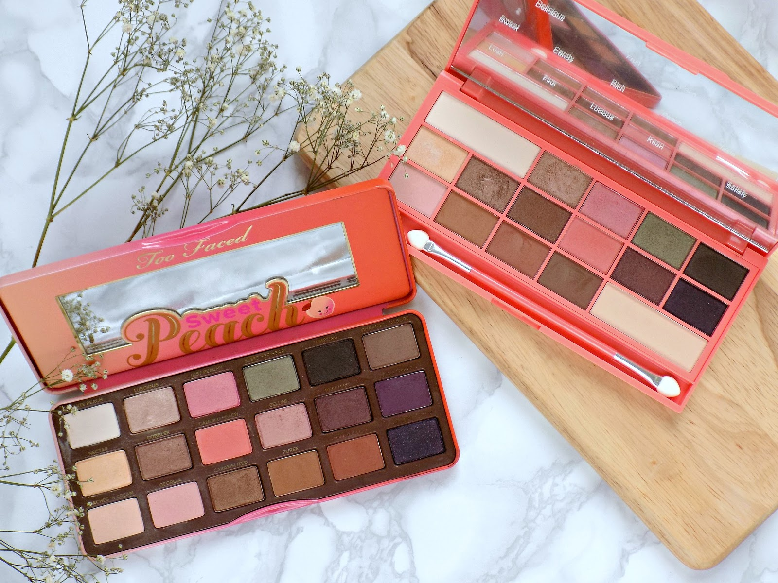 splurge or save too faced sweet peach palette vs i heart makeup
