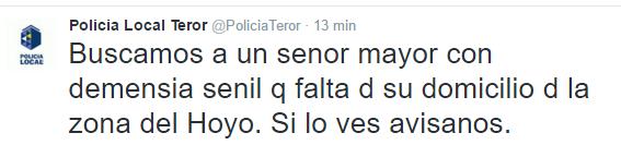 Una persona mayor con demencia senil  desaparecida en  El  Hoyo Teror, Gran Canaria
