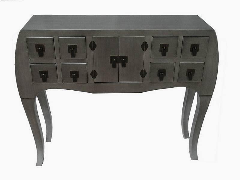 mueble recibidor en color plata, consola entrada