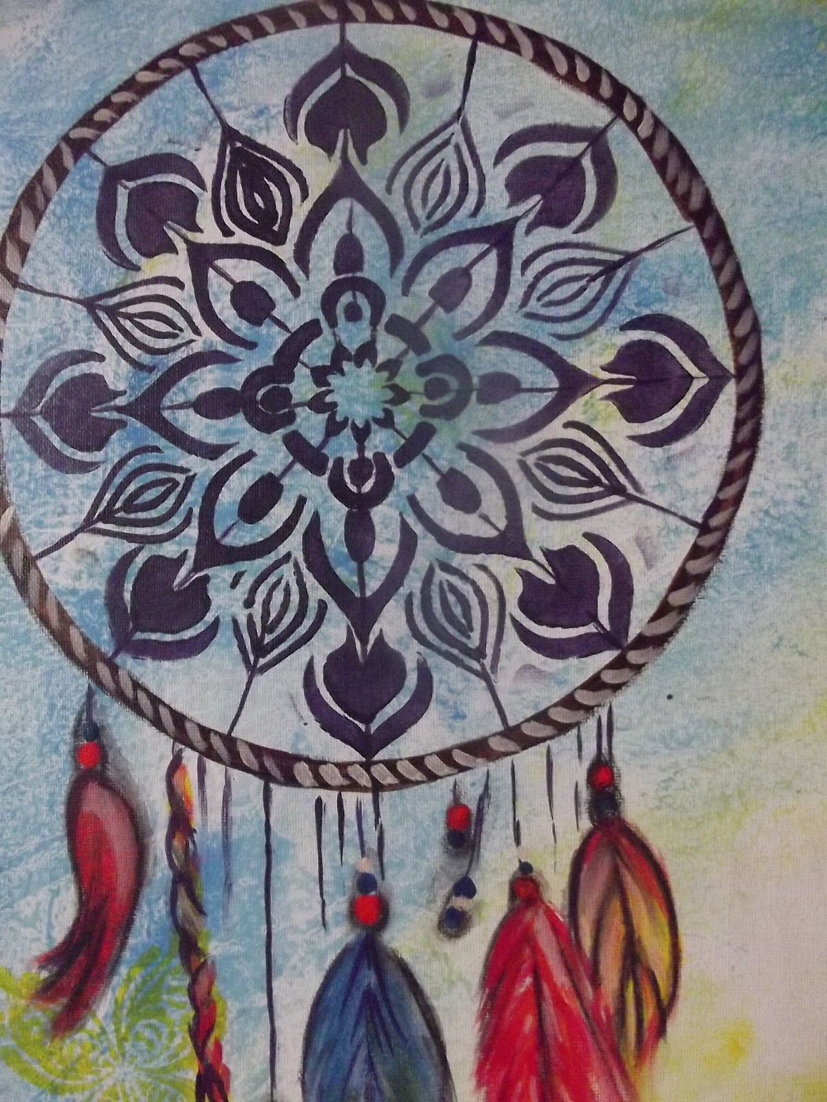 Dream catcher with decoart stencils for Dream catcher spray painting