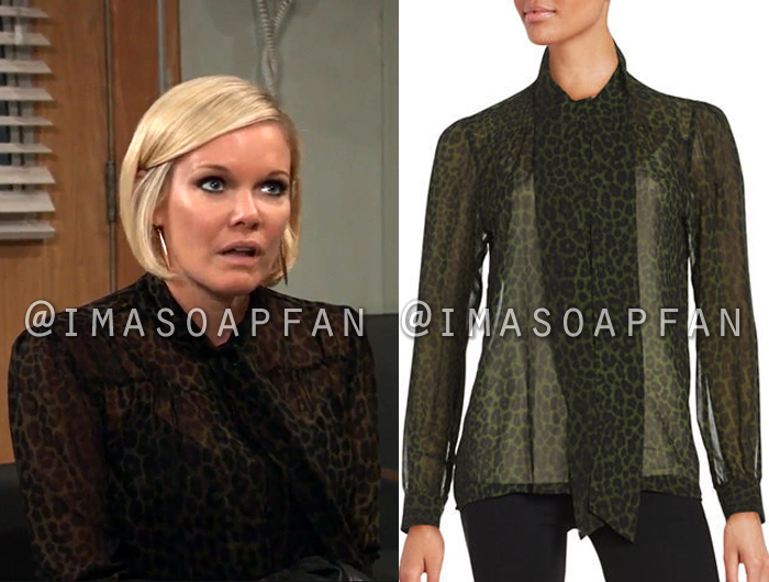 a67eb1d7ad9 Ava Jerome's Sheer Brown Leopard Print Blouse - General Hospital ...