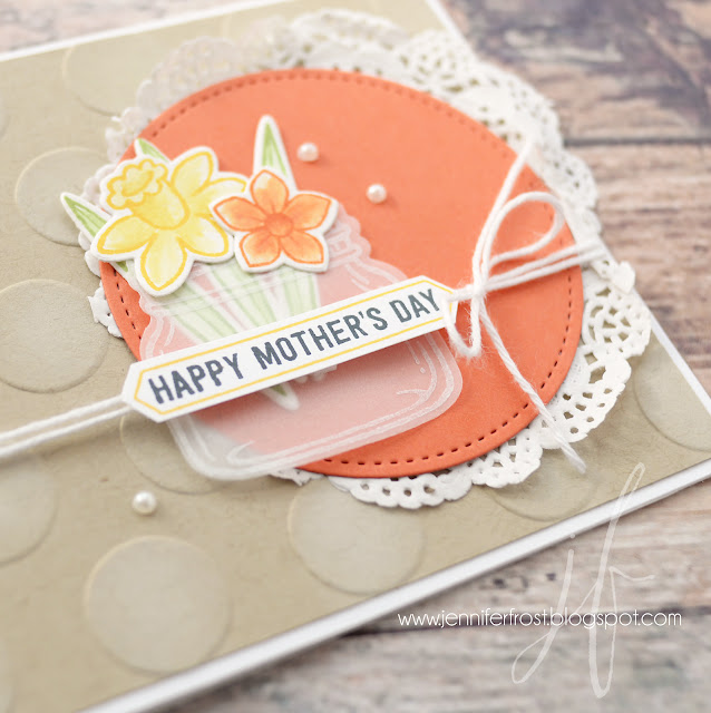 Happy Mother's Day card by Jennifer Frost, Stampin' Up!, Basket Bunch, Jar of Love, Thoughtful Banners, Polka Dots, TGIF challenge, Shop Stampin' Up! goodies from my online store for FREE rewards program fun! Learn more today!