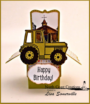North Coast Creations Stamp Set: I Dig You, Barn,  North Coast Creations Custom Dies: Tractor, Our Daily Bread Designs Custom Dies: Mini Tags and Labels, Surprise Box, Grass Lawn, Grass Hill, Our Daily Bread Designs Paper Collection: Birthday Bash
