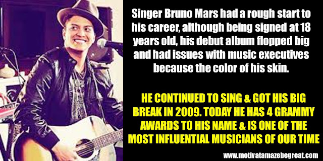 63 Successful People Who Failed: Bruno Mars, Success Story, flopped big, color of his skin, 18 years old, 4 Grammy awards,