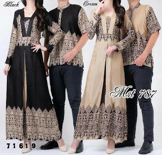 Baju Batik Couple Pasangan Muslim Model Terbaru