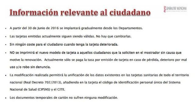 Información al ciudadano sobre nuevo modelo Tarjeta Sanitaria SIP