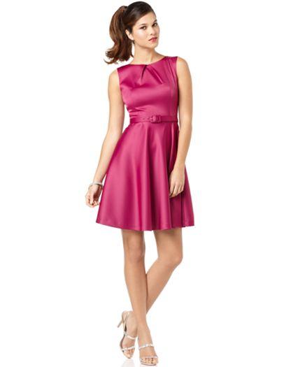 Calvin Klein Like Agb Dress Sleeveless Full Skirt Satin