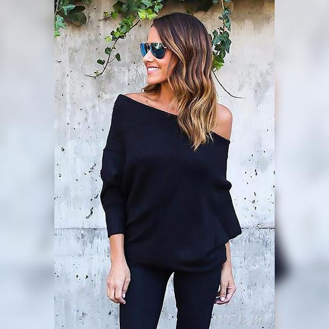 Μακρυμάνικη μαύρη γυναικεία μπλούζα GINNY BLACK