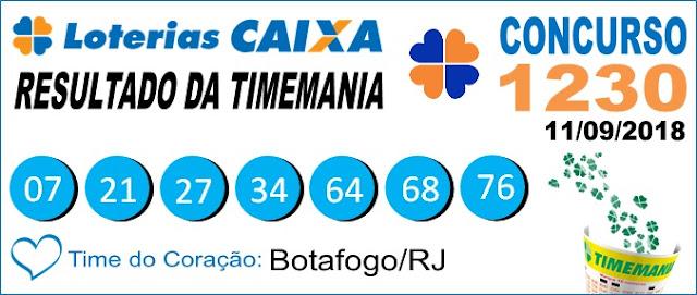 Resultado da Timemania concurso 1230 de 11/09/2018 (Imagem: Informe Notícias)