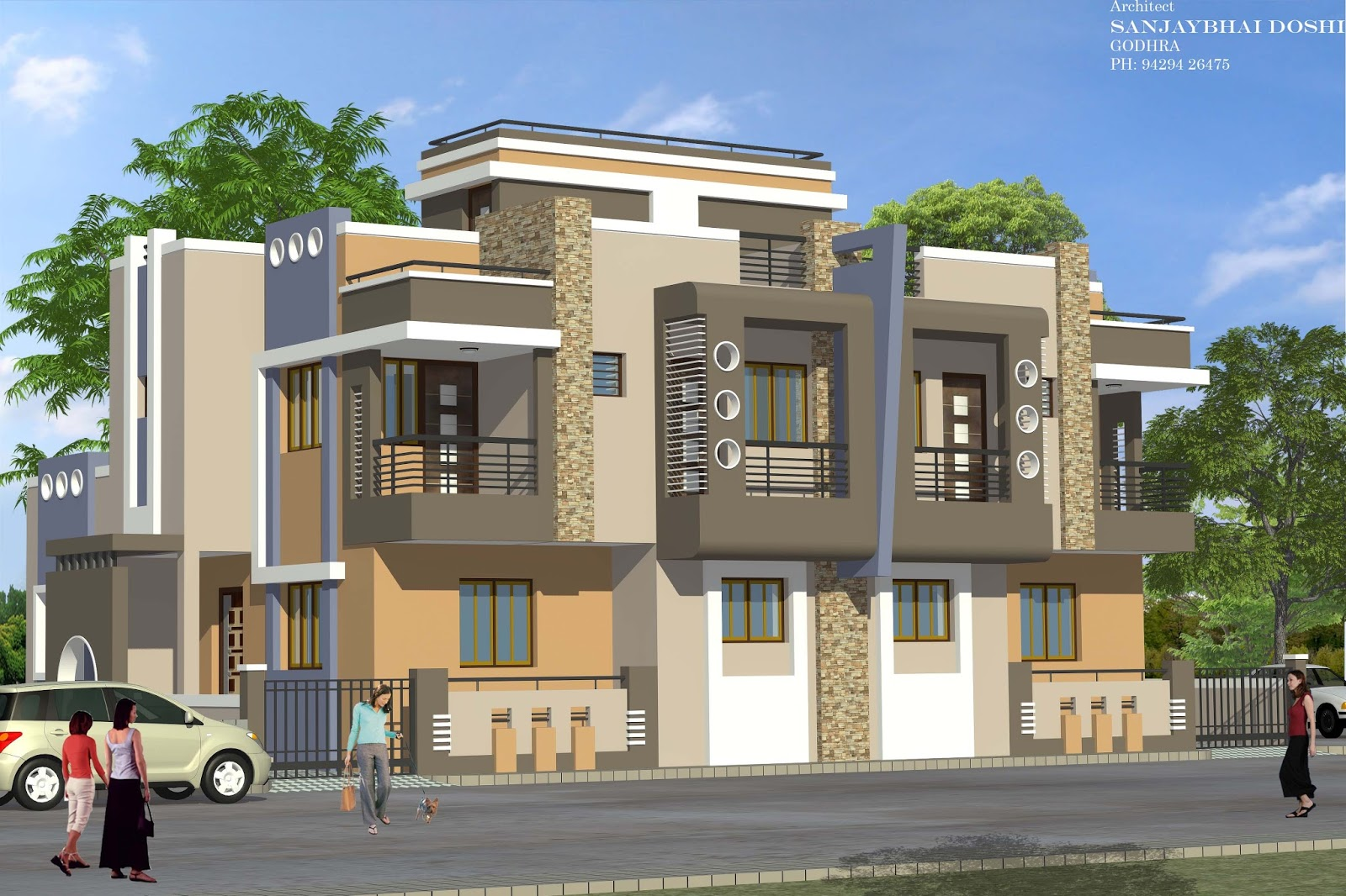 Best modern twins in gujarat rachana architect for Architecture design for home in vadodara
