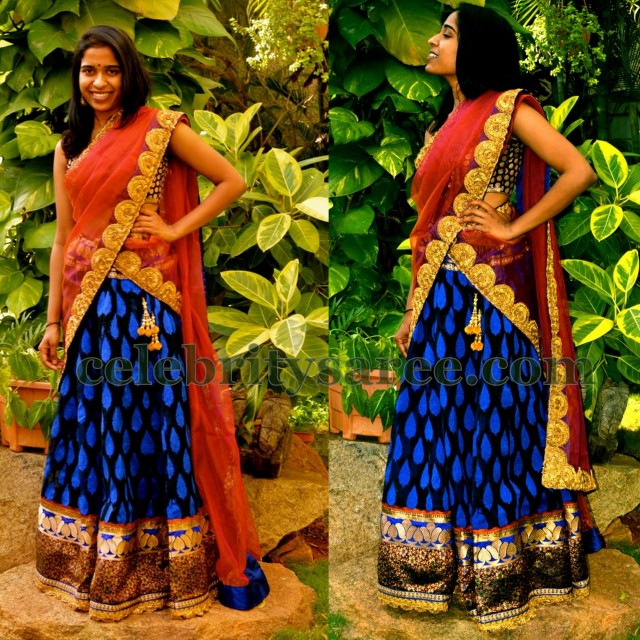 066d6658b64fde Dazzling Brocade Half Saree - Saree Blouse Patterns