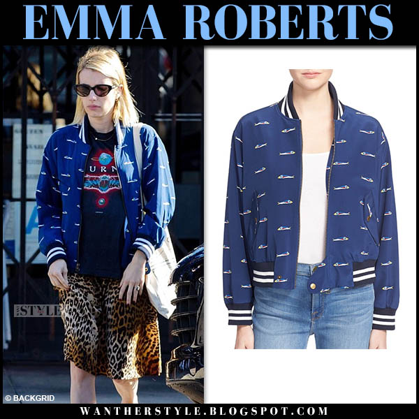 Emma Roberts in blue fish print bomber jacket and leopard skirt celebrity hollywood street style november 22