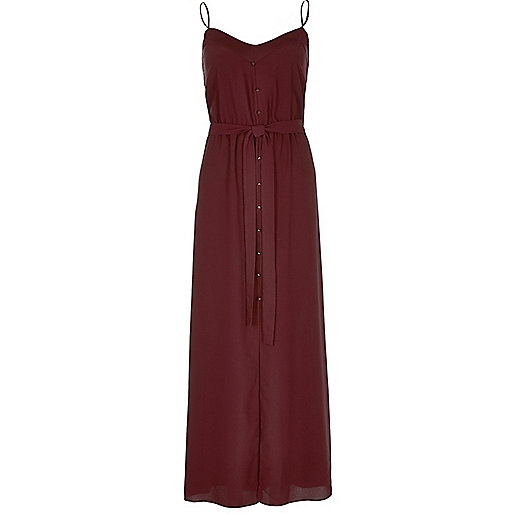 burgundy maxi dress, red button through dress, river island button strappy dress,