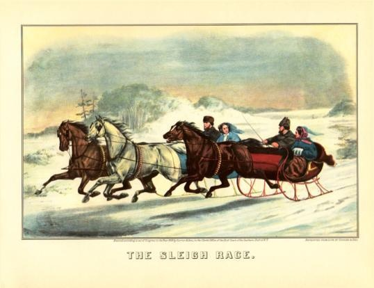 Currier and Ives Winter Print - The Sleigh Race