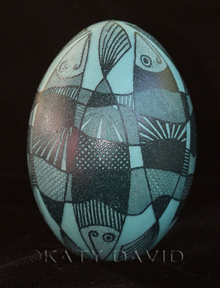 """Fishes"" 2016 ©Katy David Etched Emu Eggshell"