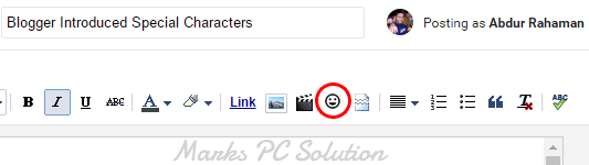 Special Characters option on blogger