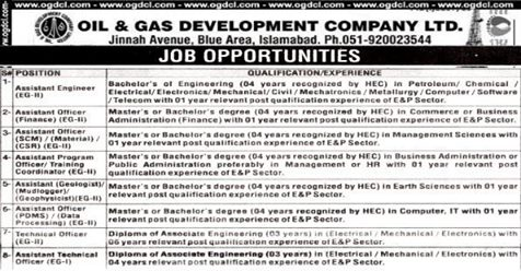 OGDCL Jobs 2020 Apply Now