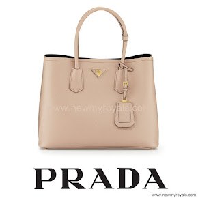 Crown Princess Mary Style PRADA Saffiano Cuir Double Bag