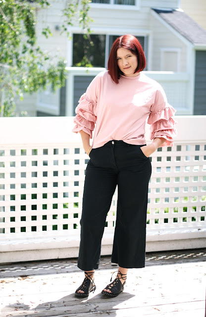 Everlane pants, SheIn t-shirt, layered ruffles trend, Fashion Blogger, Sarah Satongar, spring outfit inspiration