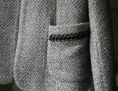 SANDRO – Veste costume grise « Chanel » 35% laine - T40 - NEUVE