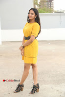 Actress Poojitha Stills in Yellow Short Dress at Darshakudu Movie Teaser Launch .COM 0059.JPG