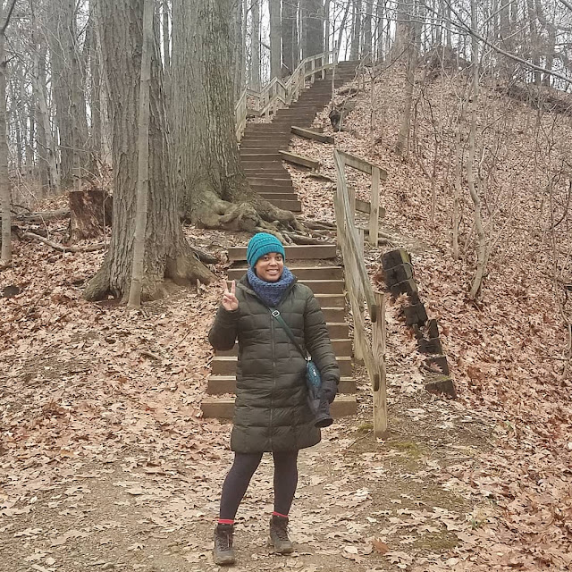 hiking along a park trail