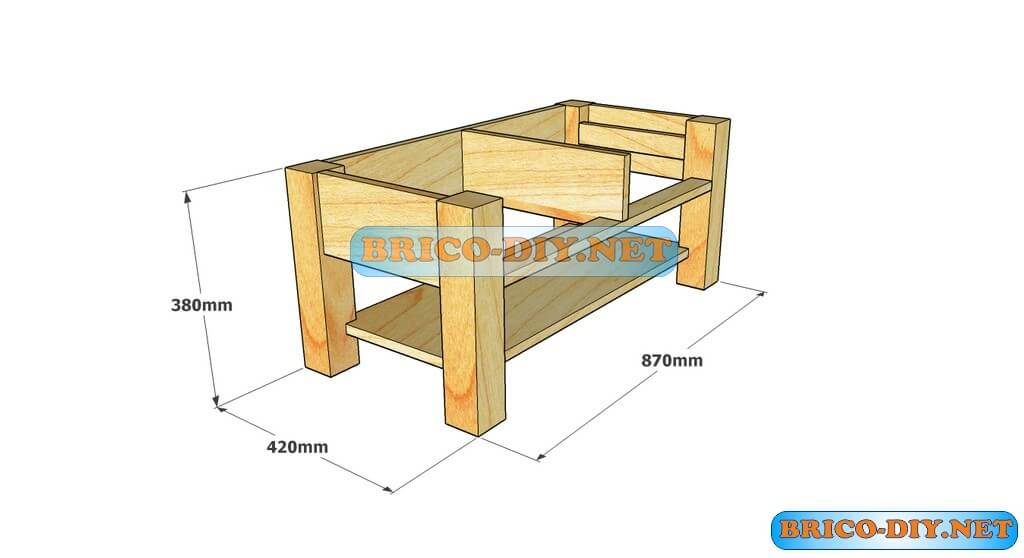 Plano como hacer mesa de centro madera web del bricolaje for Mesa con cajones para cocina