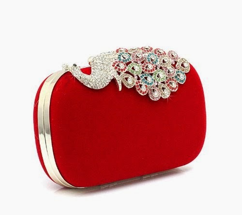 Red Leather Peacock Clutch.