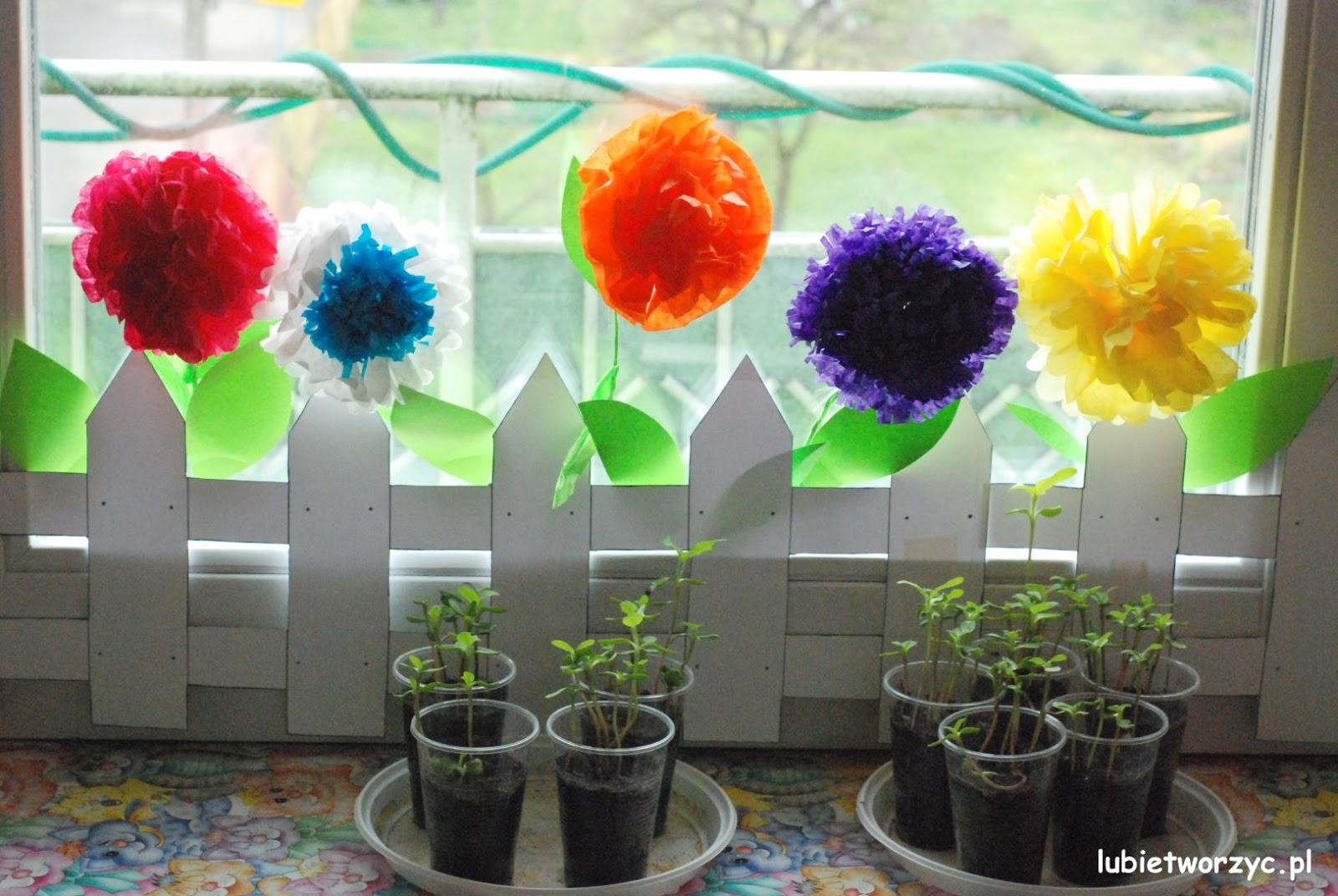 Ogródek Z Bibułkowymi Kwiatami Wiosenna Dekoracja Przedszkolna