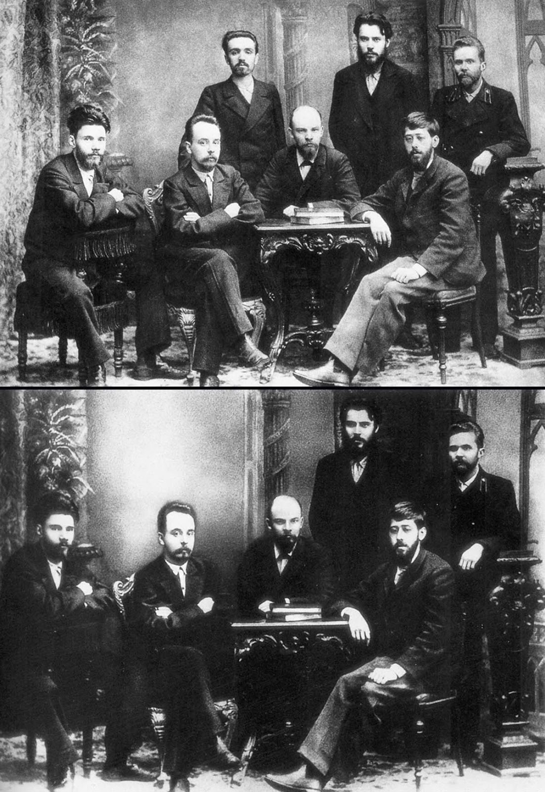 This historic picture showed young socialists in 1897 before some of them rose to power. You'll recognize a young Vladimir Lenin (in the middle) – of course, he kept his place. Alexander Malchenko (standing, on the left) was not so lucky: in 1930 he was accused of being a spy, executed, and replaced with a white spot.