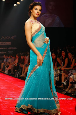 FASION SHOW BLUE FRILLED NEW FASHION net SAREE